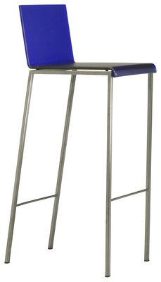 Chaise de bar bianco mat h 80 cm bleu mat pieds acier for Chaise 80 cm