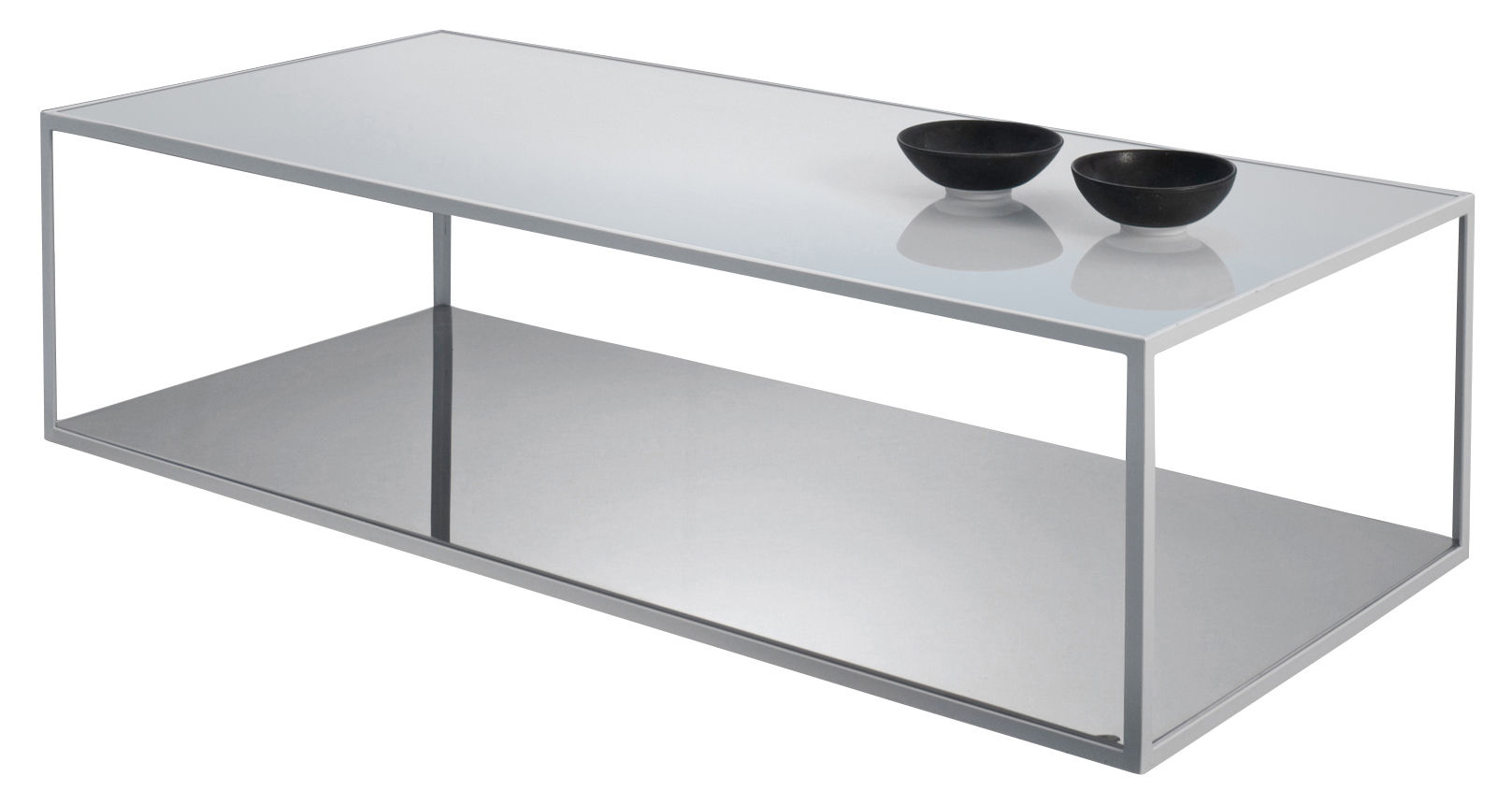 table basse double skin verre blanc acier inoxydable. Black Bedroom Furniture Sets. Home Design Ideas