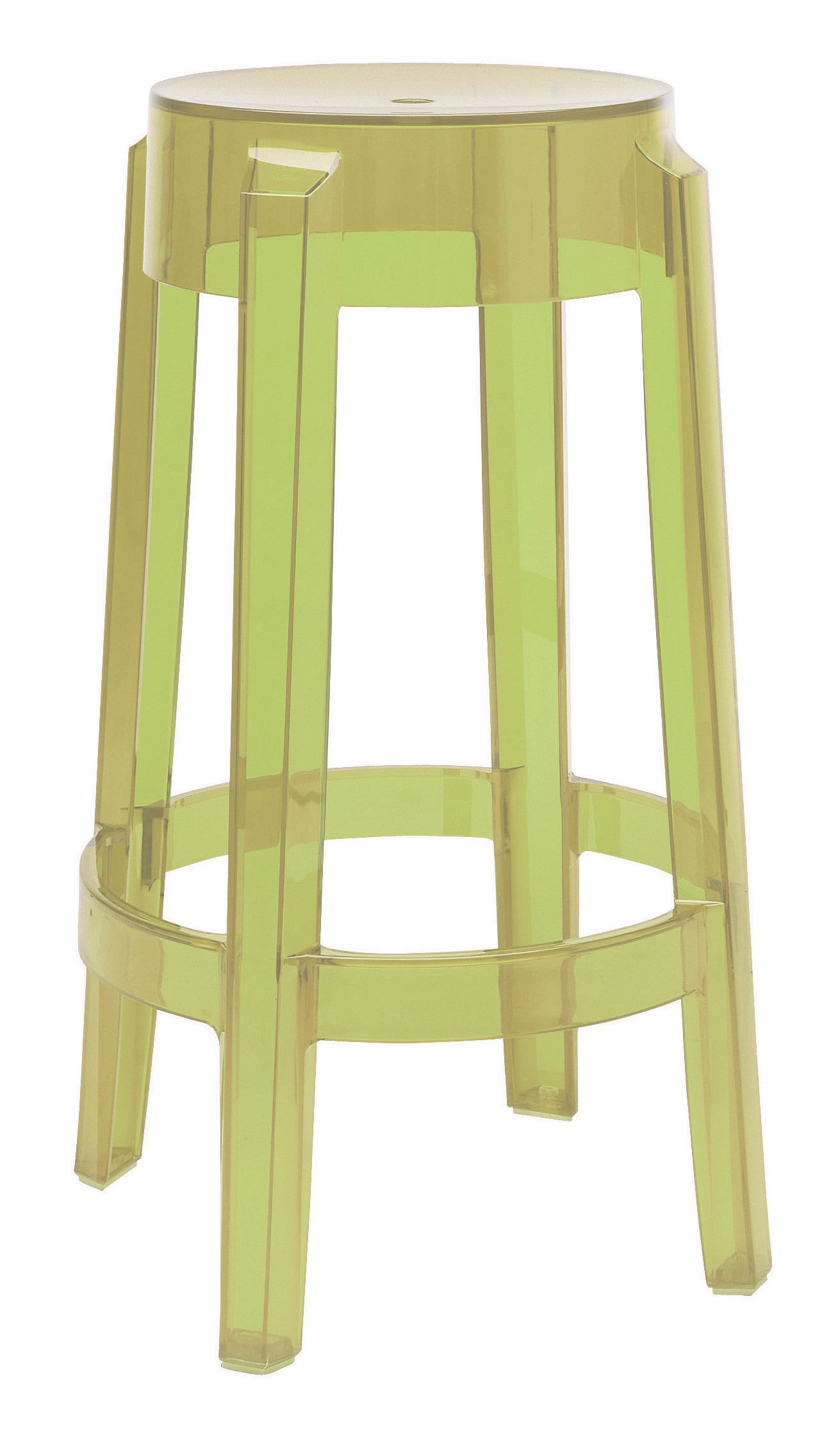 Tabouret haut empilable charles ghost h 65 cm plastique vert kartell - Tabouret plastique empilable ...