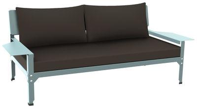 Divano destro Lounge Hegoa / L 163 cm - 2 posti  - Indoor /Outdoor - Matière Grise - Talpa,Blu celadon - Tessuto