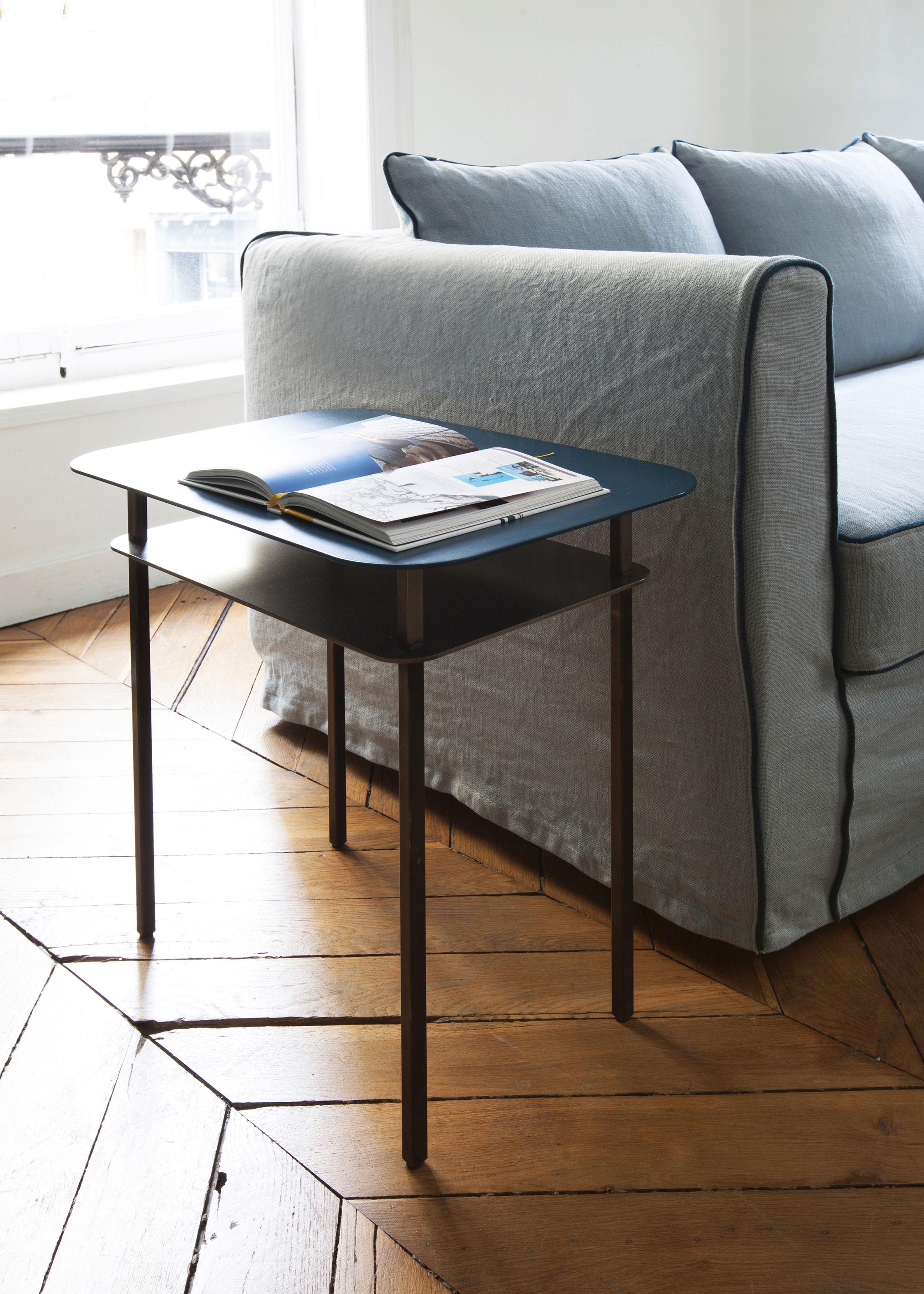 table d 39 appoint kara 60 x 44 cm bleu sarah maison sarah lavoine. Black Bedroom Furniture Sets. Home Design Ideas