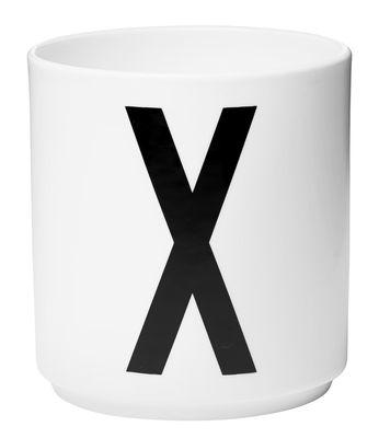 Mug Arne Jacobsen / Porcelaine - Lettre X - Design Letters blanc en céramique