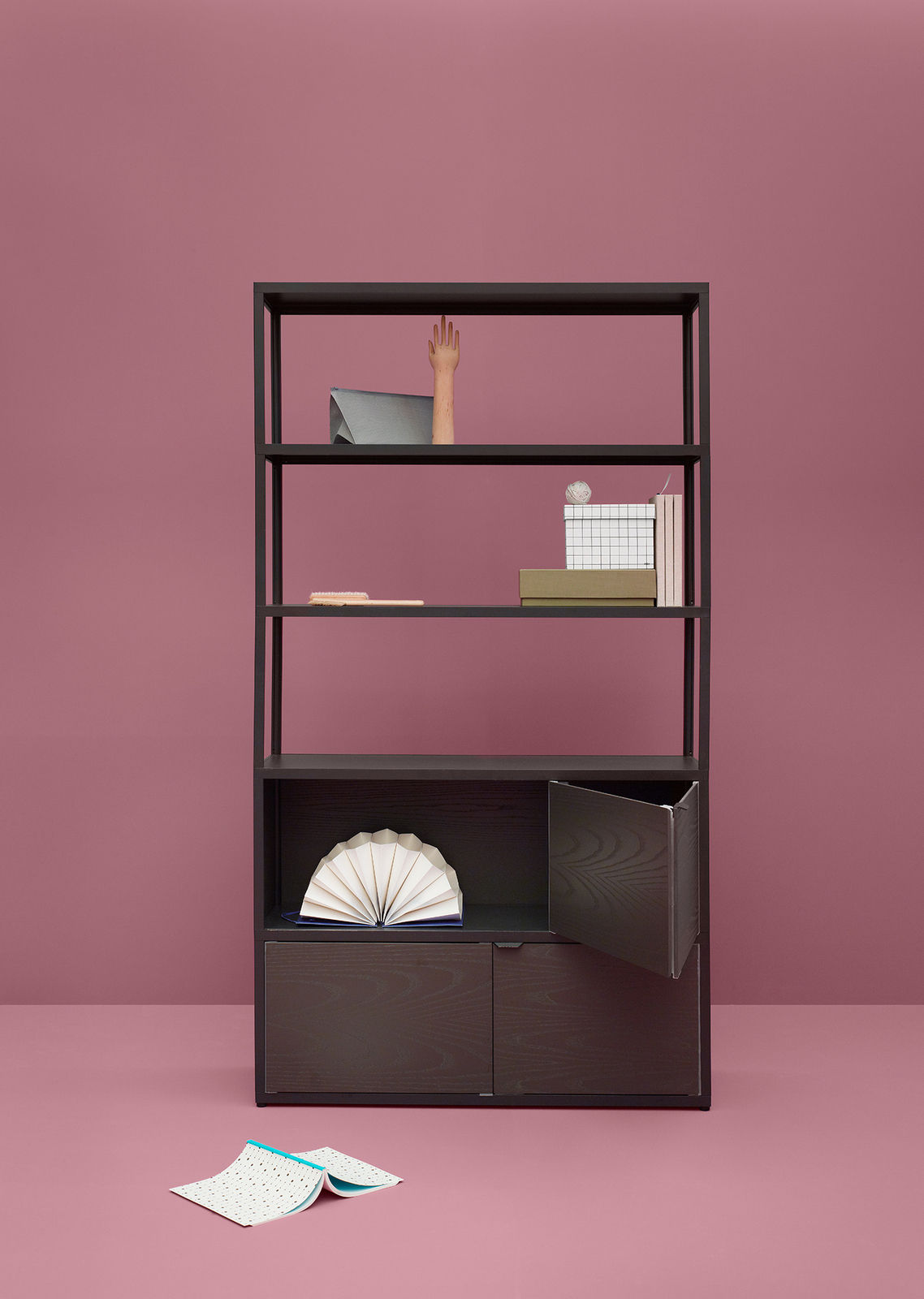 new order bookcase charcoal black stained oak boxes by hay. Black Bedroom Furniture Sets. Home Design Ideas