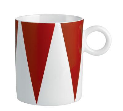 Arts de la table - Tasses et mugs - Mug Circus / Porcelaine anglaise - Alessi - Rouge & blanc - Porcelaine anglaise