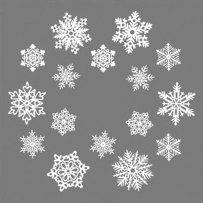 Décoration de fenêtre Mino Couronne / Set de 16 flocons - Papier - Pa Design blanc en papier