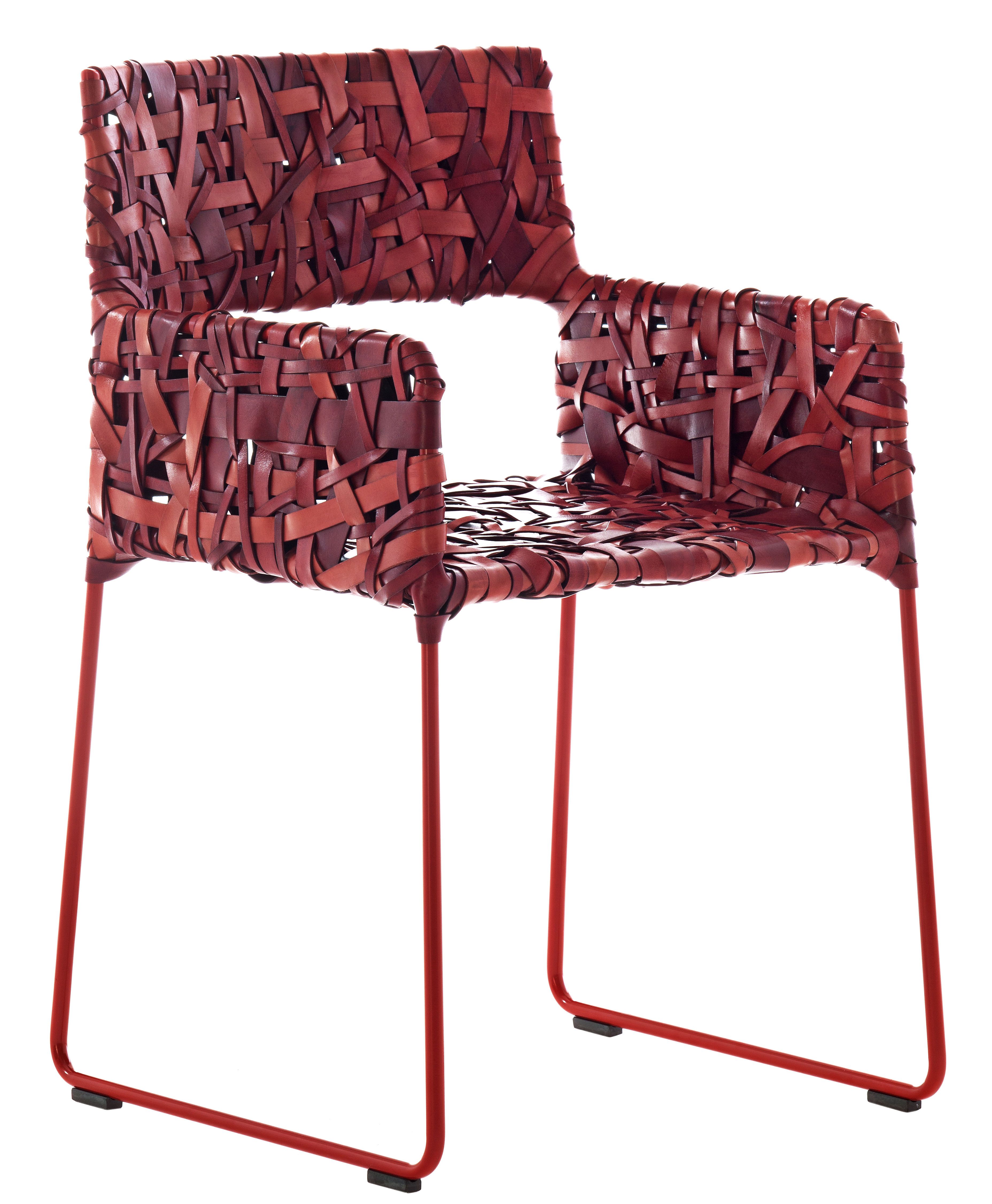 Fauteuil rikka cuir tress main rouge driade - Fauteuil made in design ...