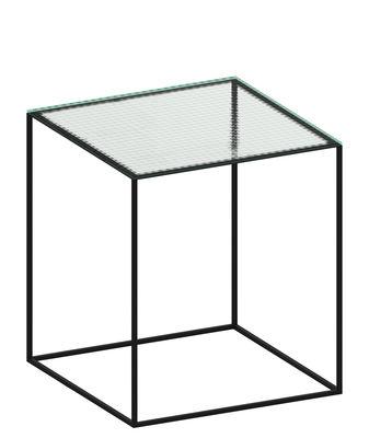 Mobilier - Tables basses - Table d'appoint Slim Irony / 41 x 41 x H 46 cm - Verre armé - Zeus - Verre transparent / Pied noir cuivré - Acier peint, Verre armé
