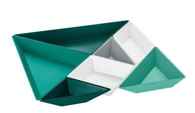 Set apéritif Tangram Ready / 7 coupelles - Koziol vert en matière plastique