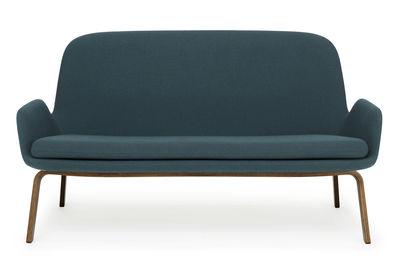 Divano destro Era - / L 145 cm - Tessuto & Legno di Normann Copenhagen - Noce,Blu-verde - Tessuto