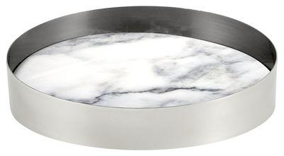 Coupe Pli Large / Ø 20 cm - Marbre & aluminium - La Chance blanc,chromé en métal