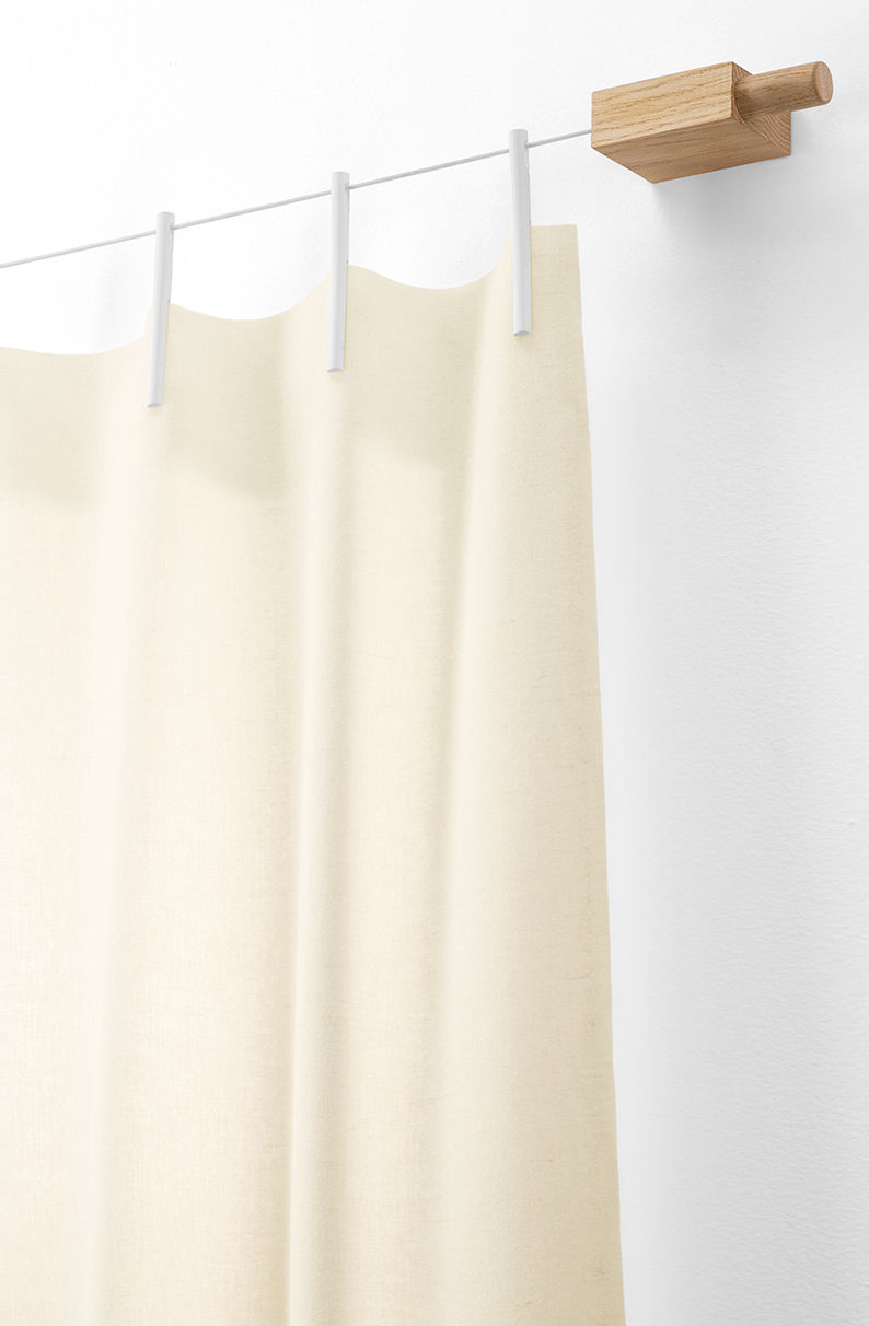 Kit Ready Made / Rideau + fixation - Laine - L 140 x H 300 cm Blanc ...