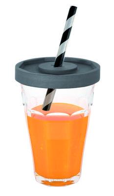 Gobelet Picardie Jars / 2 verres Duralex + couvercles & pailles - Designerbox transparent,anthracite en verre