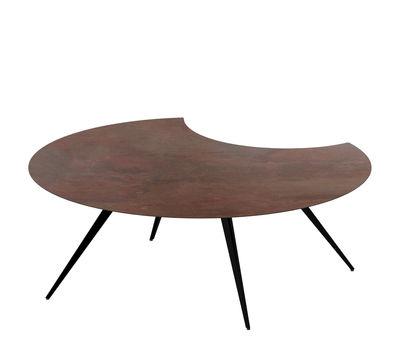 Table basse Dara / Rognée - Stratifié effet oxydation - Ø 100 cm - Zeus marron,noir cuivré en métal