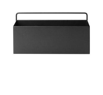 Pot de fleurs Rectangle / L 30,6 x H 15,6 cm - Ferm Living noir en métal