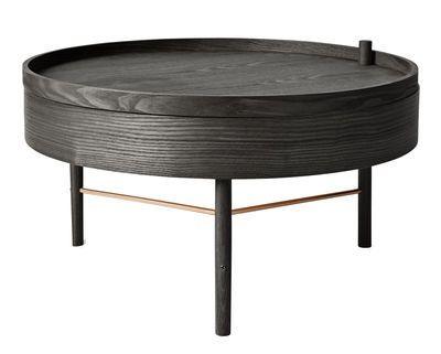 Tavolino Turning table - / Scomparto - Ø 65 cm di Menu - Ottone,Frassino tinto nero - Legno