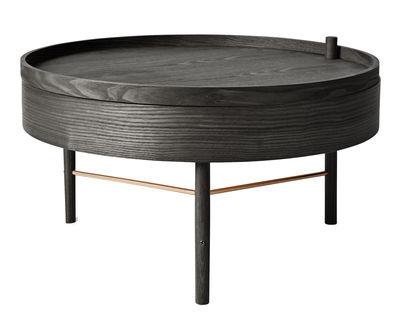 Turning table Couchtisch / mit Staufach - Ø 65 cm - Menu - Messing,Esche, schwarzlackiert