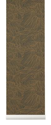Papier peint Coral / 1 rouleau - Larg 53 cm - Ferm Living or,vert foncé en papier
