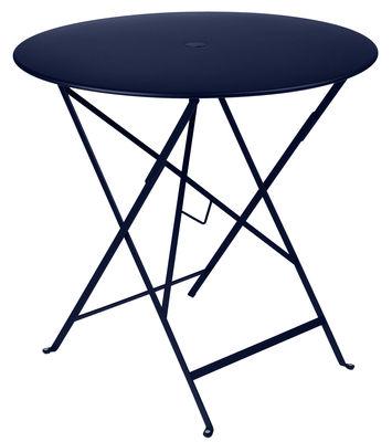 Table pliante Bistro /Ø 77 cm - Trou pour parasol Bleu abysse - Fermob