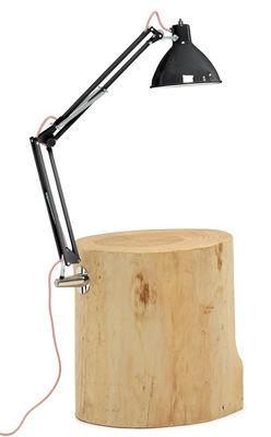 Tavolino d'appoggio Piantama - / H 50 cm - Con lampada di Mogg - Nero,Legno naturale - Metallo