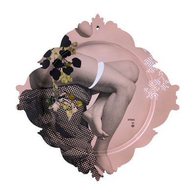 Arts de la table - Plateaux - Plateau Piédestal / L 48 x H 50 cm - Ibride - Piédestal / Rose & gris - Stratifié compact