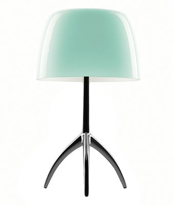 lampe de table lumi re grande variateur h 45 cm turquoise pied noir chrom foscarini. Black Bedroom Furniture Sets. Home Design Ideas