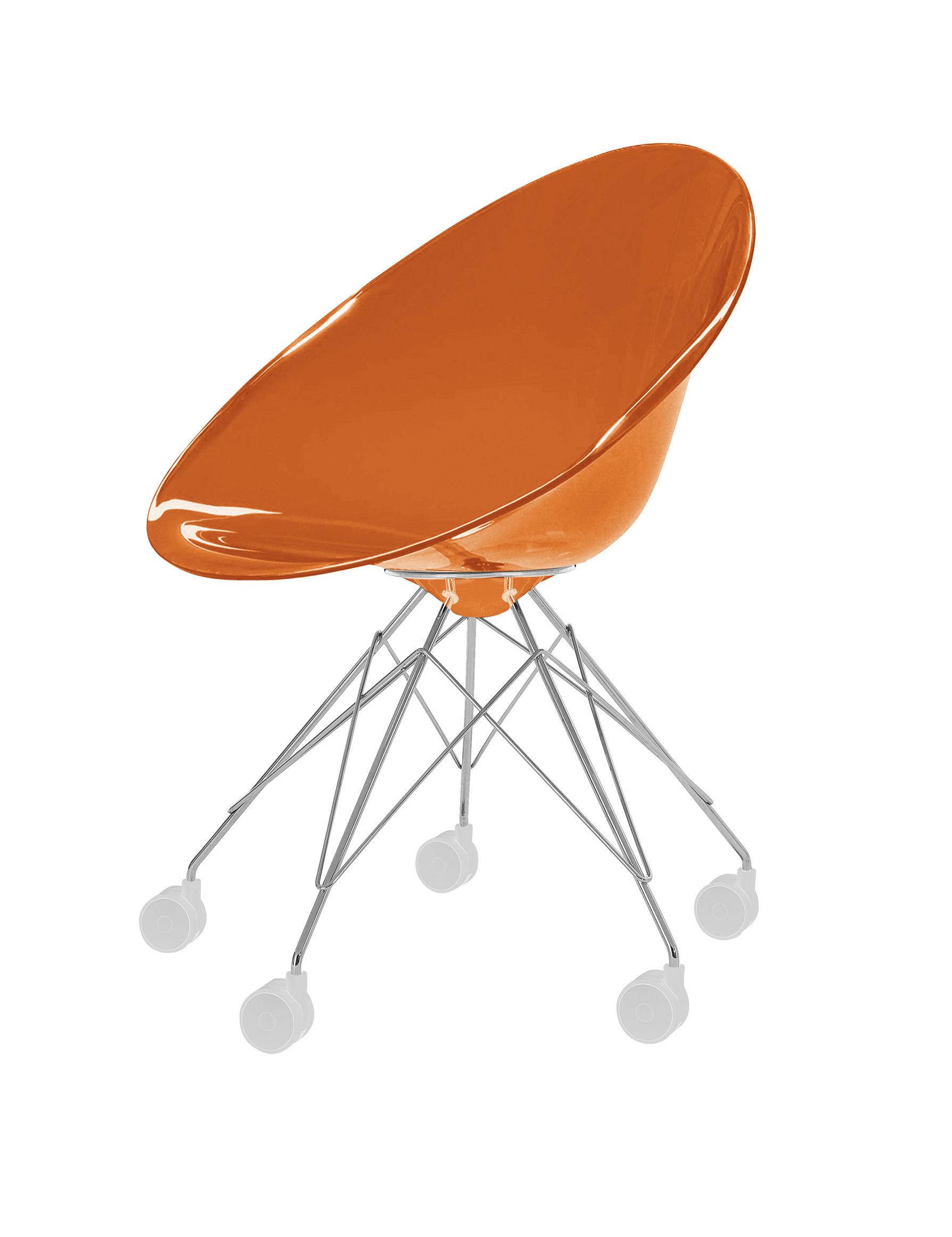 fauteuil roulettes ero s en polycarbonate orange transparent kartell. Black Bedroom Furniture Sets. Home Design Ideas