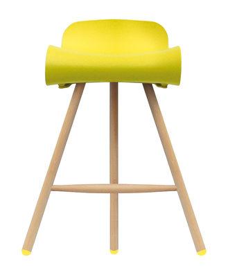 Tabouret de bar BCN Wood / H 66 cm - Pieds bois - Kristalia jaune,bois clair en matière plastique