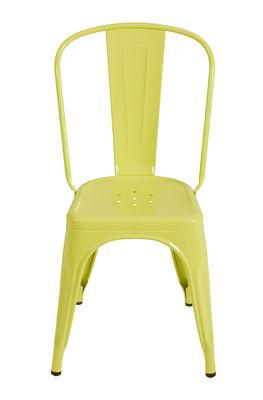 Chaise empilable A / Acier - Couleur brillante - Tolix jaune tilleul brillant en métal