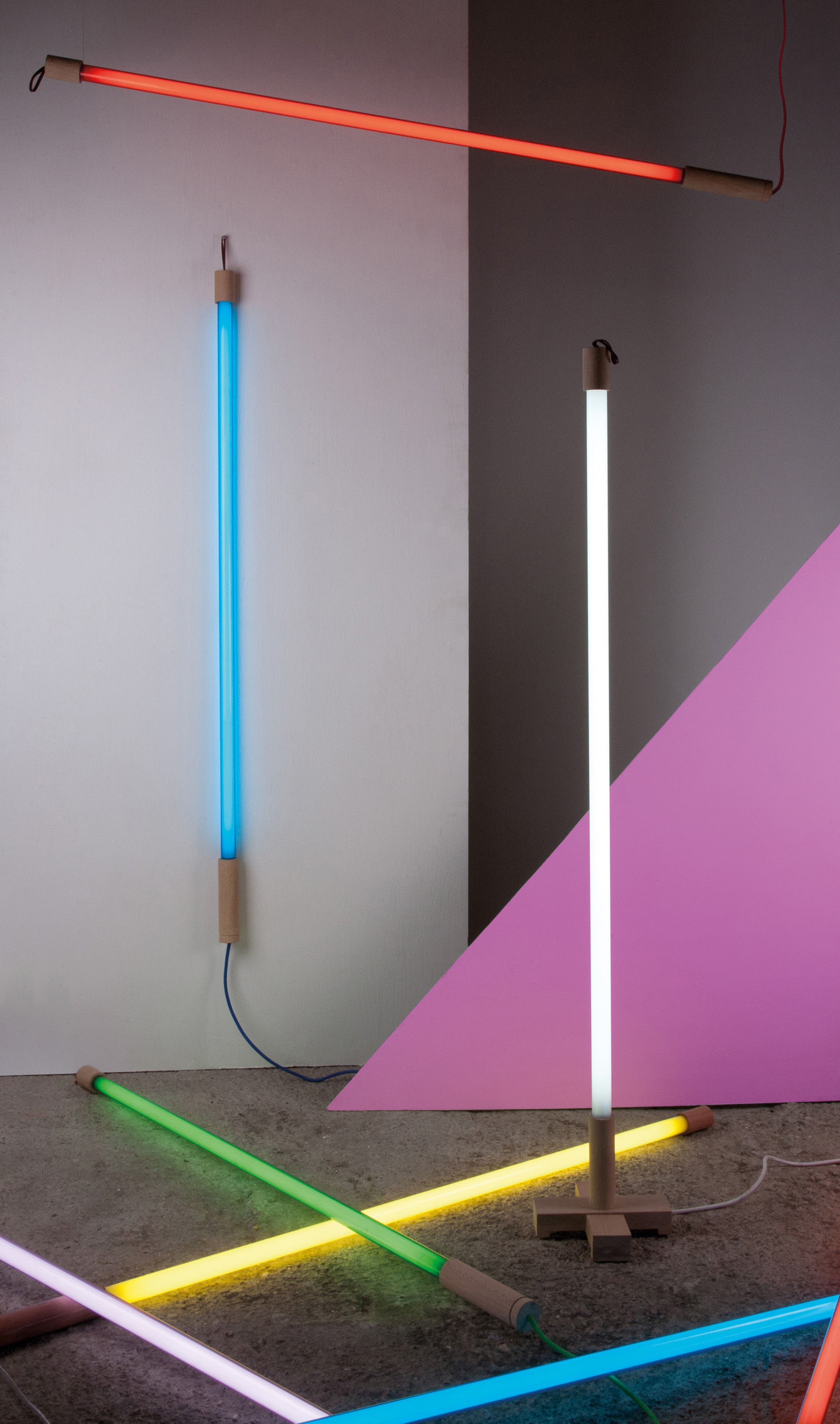 Linea wall light with plug neon l 140 cm blue by seletti aloadofball Image collections