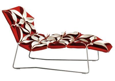 Möbel - Außergewöhnliche Möbel - Antibodi Liege - Moroso - Rot/weiße Blumen - Gewebe, rostfreier Stahl