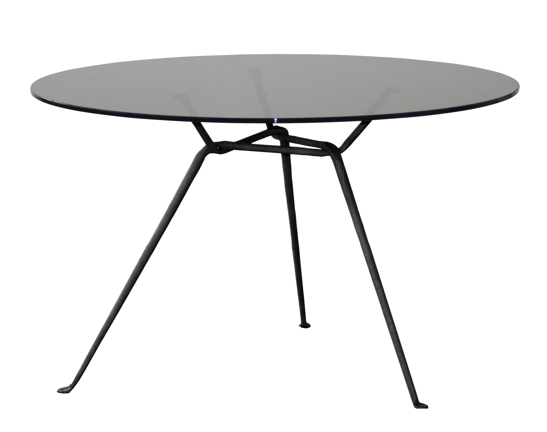 table officina 120 cm plateau verre verre gris fum pieds noirs magis. Black Bedroom Furniture Sets. Home Design Ideas