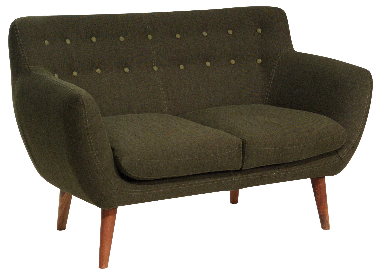 canap droit coogee 2 places l 132 cm kaki clair boutons kaki fonc sentou edition. Black Bedroom Furniture Sets. Home Design Ideas