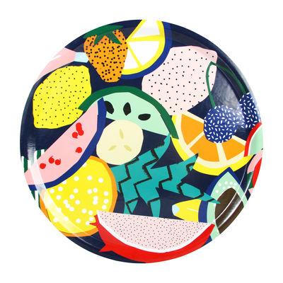 Arts de la table - Plateaux - Plateau Fruits / Mélamine - Ø 35 cm - & klevering - Fruits multicolores / Fond bleu nuit - Contreplaqué, Mélamine