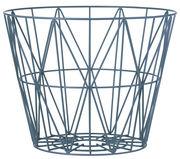Cesto Wire Large - / Ø 60 x H 45 cm di Ferm Living - Blu petrolio - Metallo