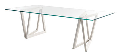 Table QuaDror02 / 280 x 120 cm - Plateau verre rectangulaire - Horm transparent,frêne blanchi en verre