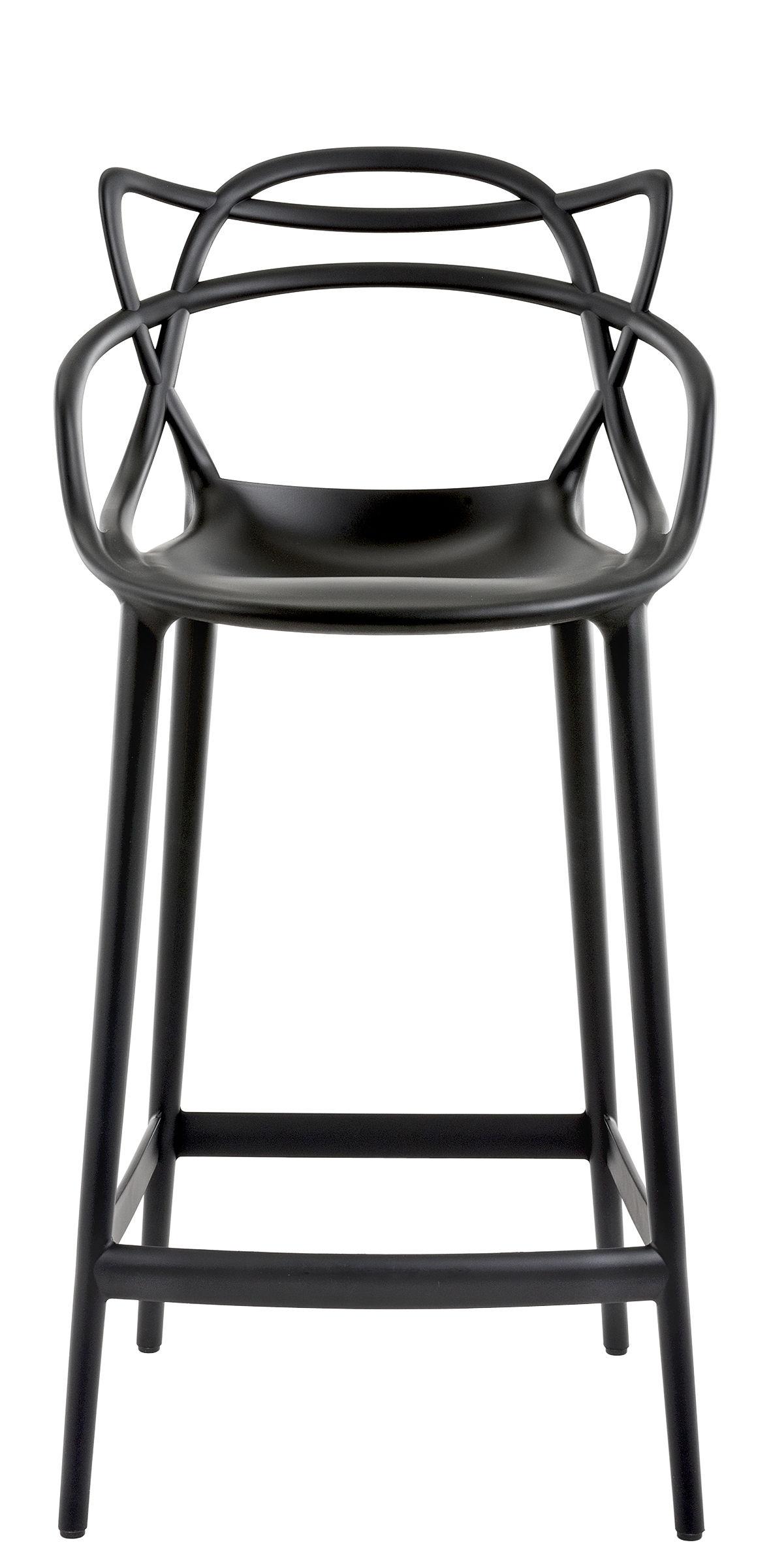 chaise de bar masters h 65 cm polypropyl ne noir kartell. Black Bedroom Furniture Sets. Home Design Ideas