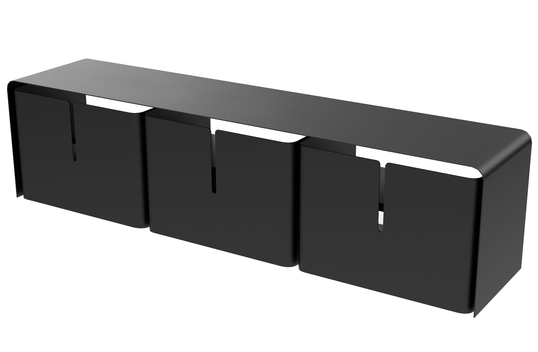 meuble tv barber 3 tiroirs l 160 cm noir mati re grise. Black Bedroom Furniture Sets. Home Design Ideas