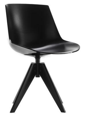 Chaise pivotante Flow / 4 pieds VN acier - MDF Italia noir en matière plastique