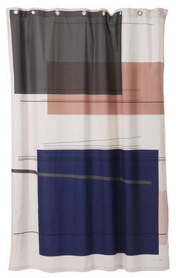 Accessoires - Accessoires salle de bains - Rideau de douche Colour Block / Coton imperméabilisé - 160 x H 205 cm - Ferm Living - Colour Block / Multicolore - Coton imperméabilisé
