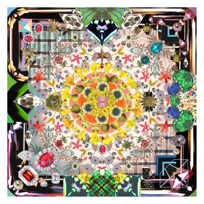 Tapis Jewels Garden / 300 x 300 cm - Moooi Carpets multicolore en tissu