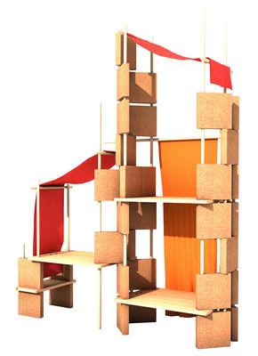 Mobilier - Etagères & bibliothèques - Mobilier évolutif Play Yet 3! / Pour enfant - Set 86 pièces - Smarin - Bois naturel / Tissu rouge - Chêne naturel, Hêtre naturel, Liège, Tissu