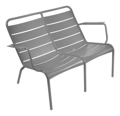 Foto Panca con schienale Luxembourg Duo - 2 posti di Fermob - Grigio metallo - Metallo