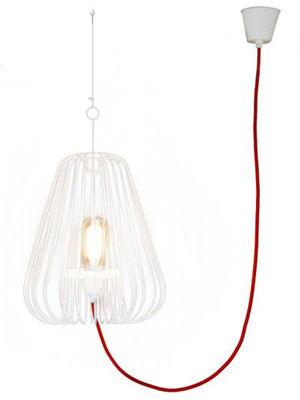 Luminaire - Suspensions - Suspension Small Light Cage H 40 cm - La Corbeille - Blanc / cordon rouge - Métal laqué