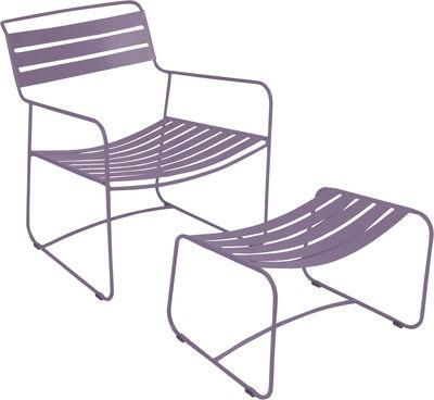 Surprising Lounger niedriger Sessel / Set aus Sessel + Fußablage - Fermob - Pflaume