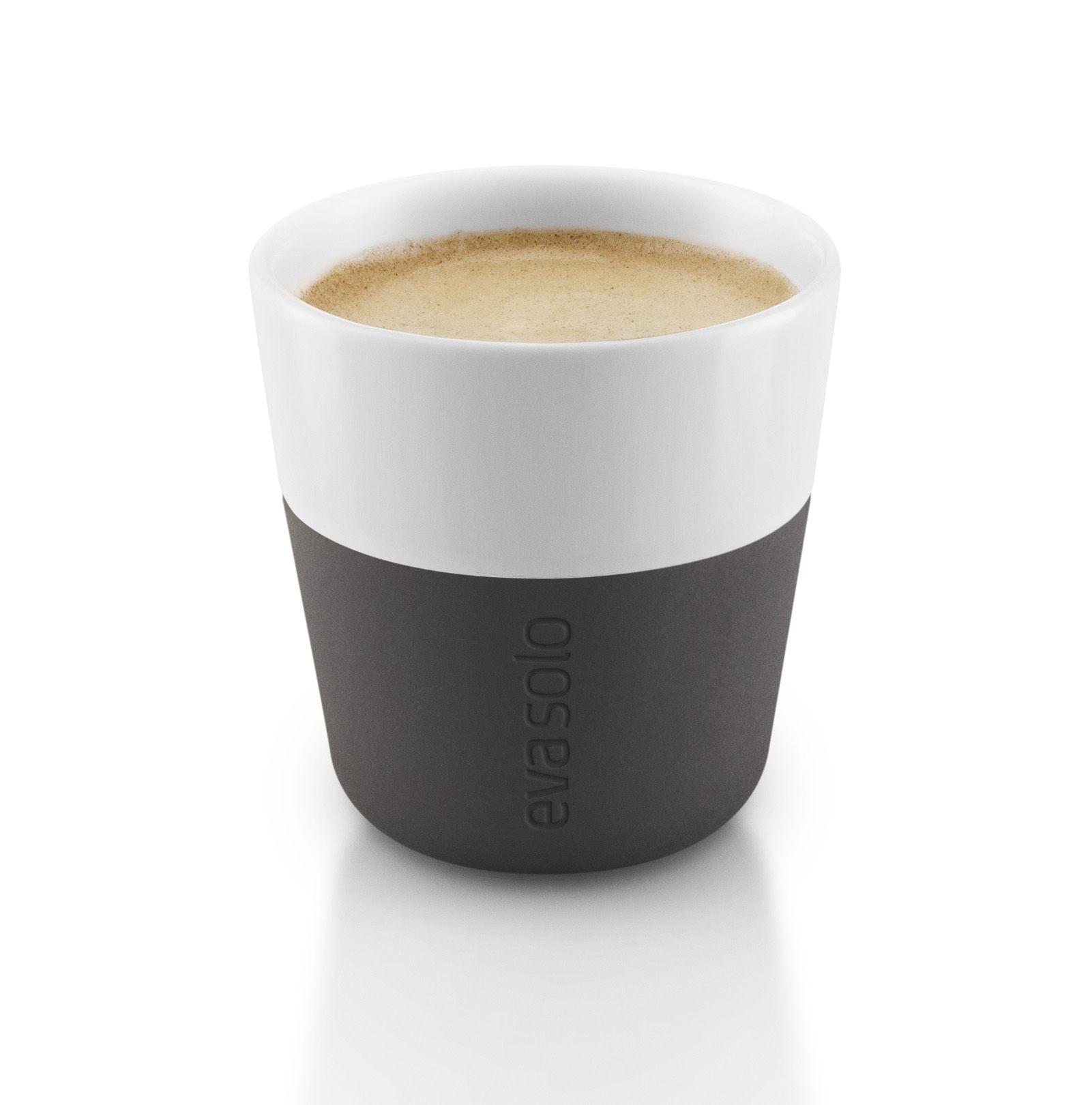 Espresso cup - Set of 2 - 80 ml White / Carbon black ...