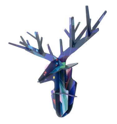 Déco - Pour les enfants - Décoration murale Totem / Cerf enchanté - Carton - L 50 x H 40 cm - studio ROOF - Cerf / Tons bleus - Carton récyclé