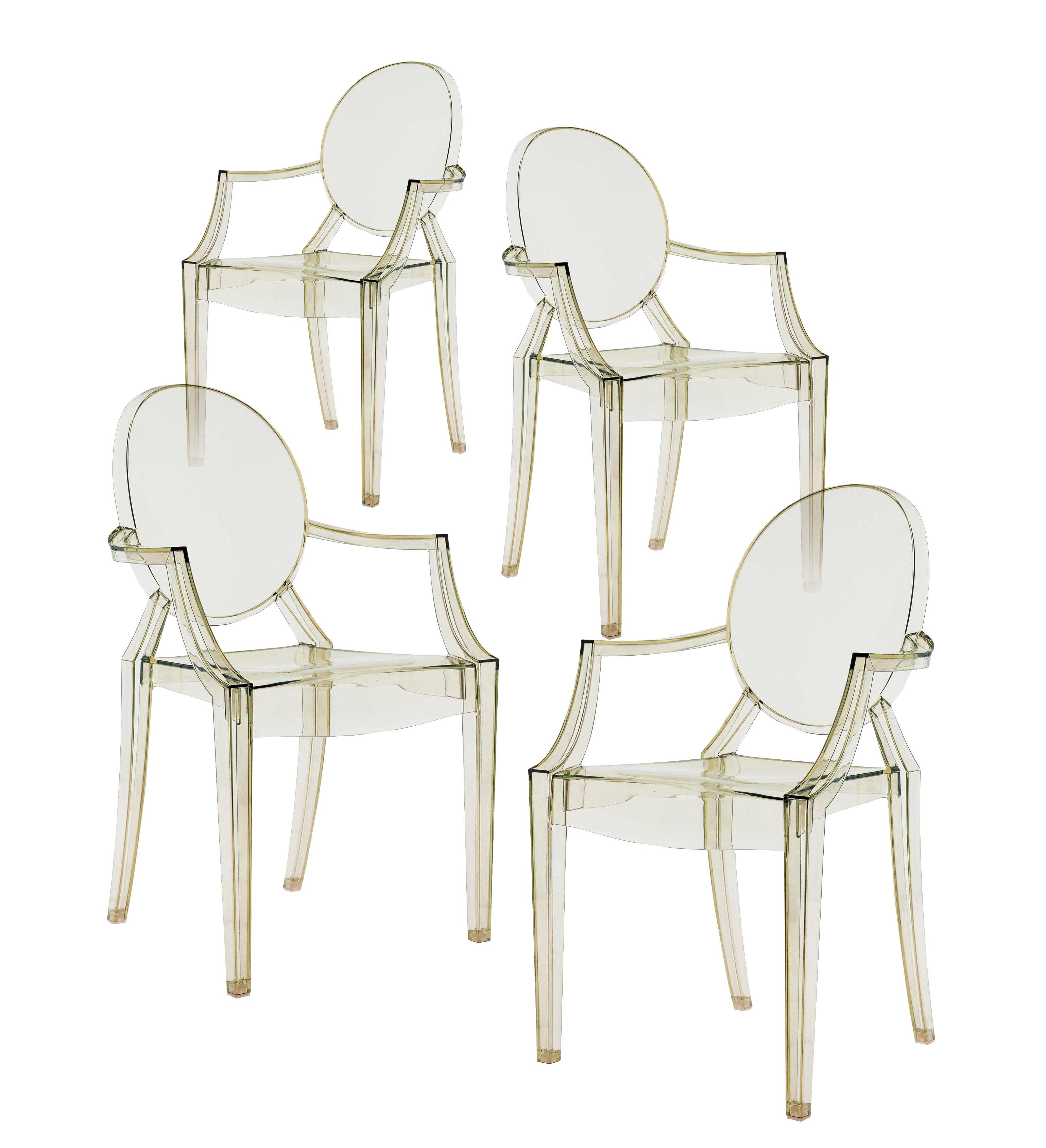 fauteuil empilable louis ghost lot de 4 jaune kartell. Black Bedroom Furniture Sets. Home Design Ideas