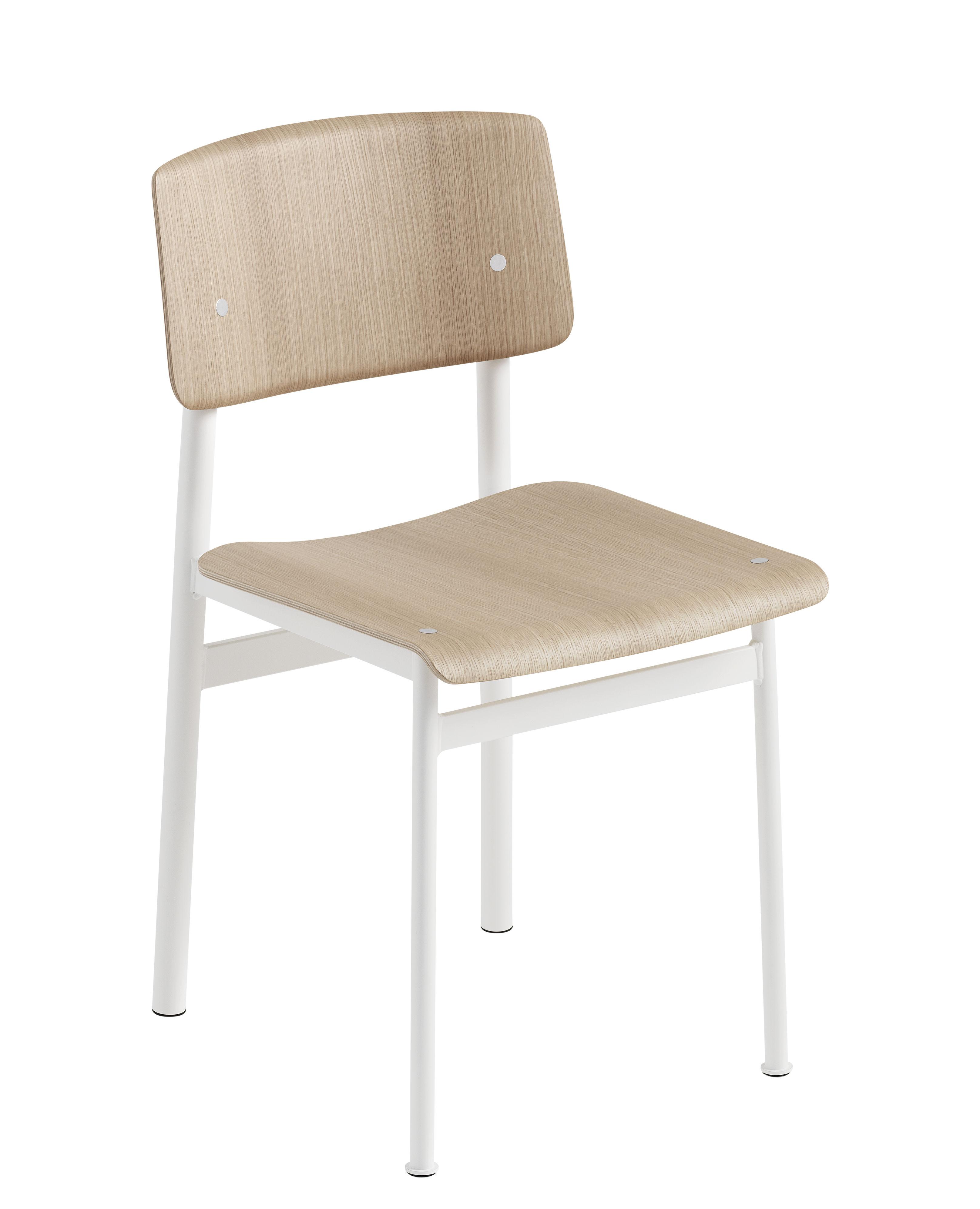Chaise loft bois m tal blanc ch ne muuto for Chaise metal blanc