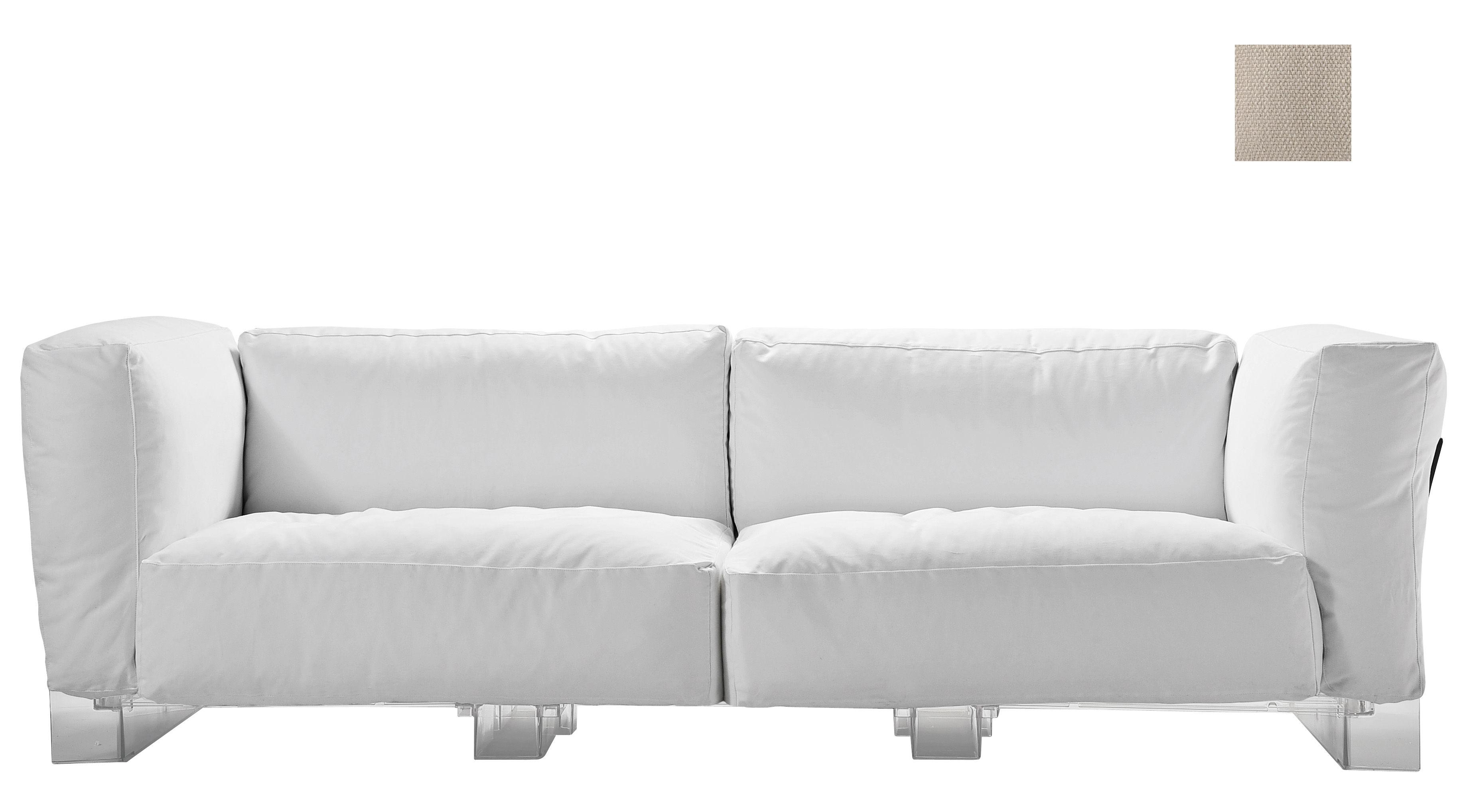 canap droit pop duo structure transparente l 255 cm ecru kartell. Black Bedroom Furniture Sets. Home Design Ideas