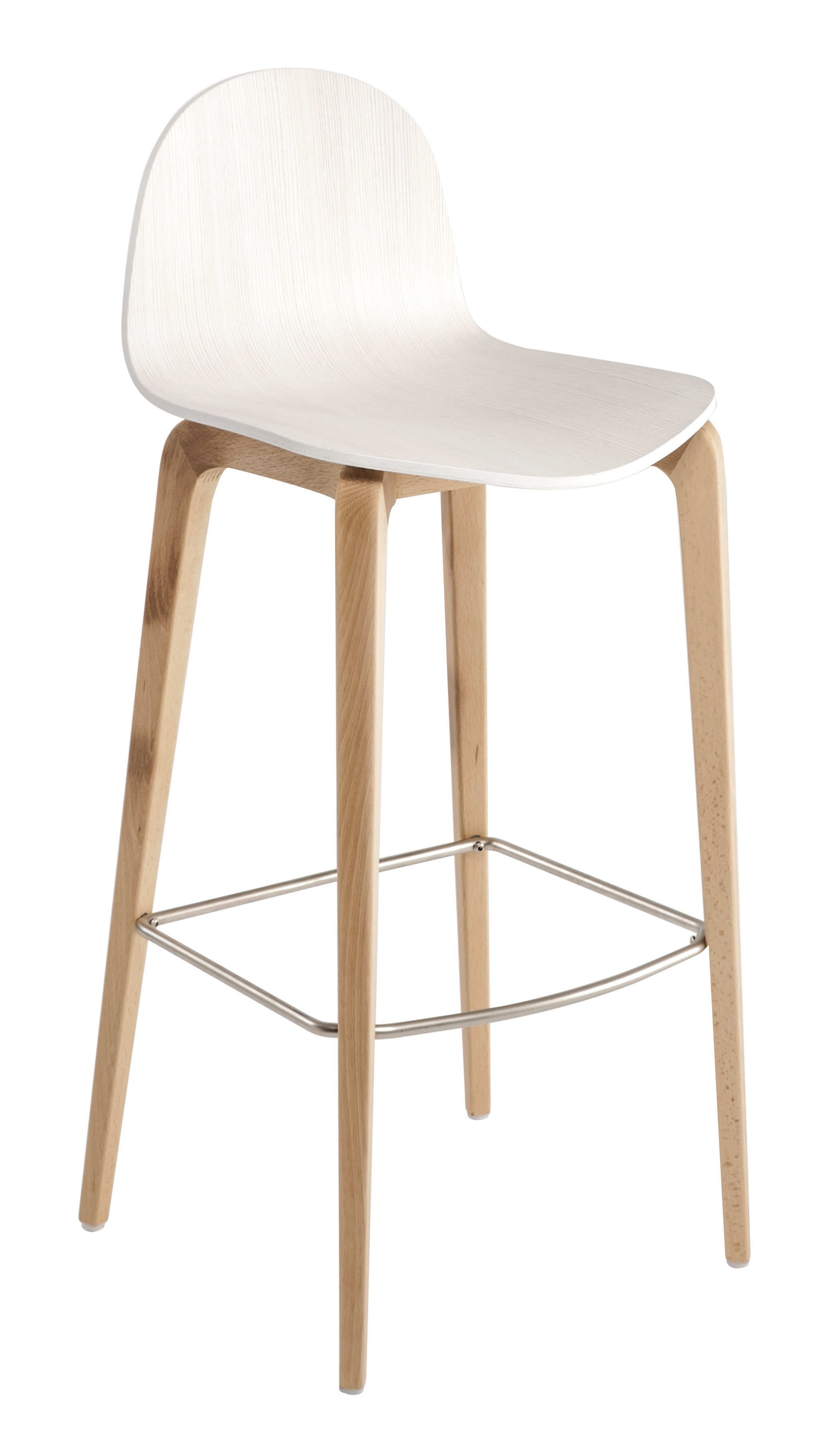 bob bar stool h 75 cm wood natural beech structure white shell by ondarreta. Black Bedroom Furniture Sets. Home Design Ideas